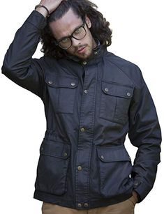 96763f681 VEDONEIRE Mens Wax Jacket (3050 BLACK) motorbike style coat waxed designer  Review Mens Wax
