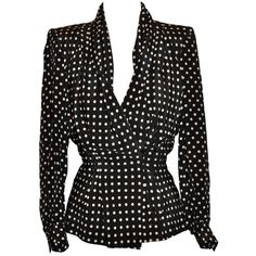 Preowned Givenchy Silk Black & White Polka Dot Blouse (32,310 MKD) ❤ liked on Polyvore featuring tops, blouses, shirts, black, coats, white, polka dot blouse, collared shirt, white collar shirt and black and white blouse