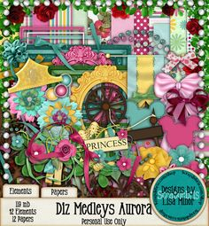 Diz Medleys Aurora Disney Scrapbook Kit, Disney Princess Scrapbook Kit, Disney World, Disneyland, Princess Scrapbook, Spinning Wheel