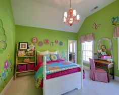 Tween Girls Bedroom Design, Pictures, Remodel, Decor and Ideas - page 15 -- Natalea's walls are this color but Im thinking of painting her white furniture black to go with her peace sign bedding