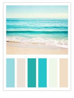 "Teal Beach Color Scheme Inspired by Carolyn Cochrane's Ocean Photograph, ""Summer's Dream"" bathroom colors for beach house Beach Color Schemes, Beach Color Palettes, Brown Color Schemes, Turquoise Color Schemes, Turquoise Paint Colors, Coastal Colors, Beachy Colors, Ocean Blue Paint Colors, Turquoise Blue Color"