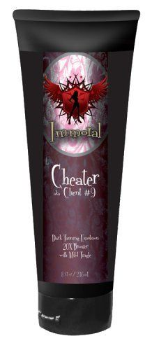 Cheater Tanning Lotion (20X Bronzer w/ Tingle) by Immoral Tanning Lotion. $79.95. Tan Cheating Formula. 20X Bronzer. Mild Tingle. True Bronzer Technology. 20X Bronzer With Mild Tingle (8.0 Oz)  A combination of superior bronzing agents, caffeine, hemp seed oil and a moisture rich vitamin E complex combined with the right amount of heat (tingle) to achieve the Deepest Darkest Tan!   For Advanced Tanners Only!