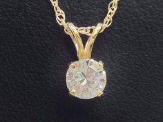 14K YELLOW GOLD .47CT DIAMOND SOLITAIRE PENDANT WITH 10K YELLOW GOLD CHAIN #Pendant
