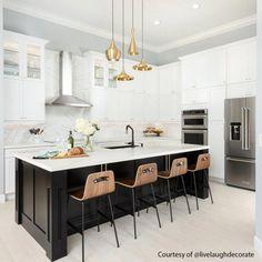 47 Luxury Small White Kitchen Design Ideas ~ My Dream Home Small White Kitchens, Black Kitchens, Home Kitchens, Modern Kitchens, Beach House Kitchens, Dream Kitchens, Beautiful Kitchens, Black Kitchen Island, White Kitchen Cabinets