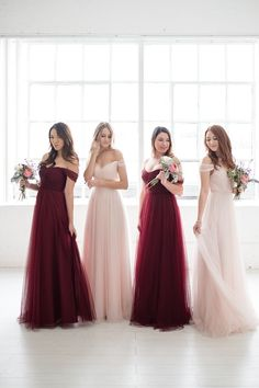 Tulle off the shoulder long bridesmaid dresses by Love Tanya Brautjungfern Pink Brides Maid Dresses, Formal Dresses For Weddings, Wedding Dresses, Fall Wedding Bridesmaids, Burgundy Bridesmaid Dresses, Tulle Bridesmaid Dress, Burgundy And Blush Wedding, Maroon Wedding, Wedding Entourage Dress