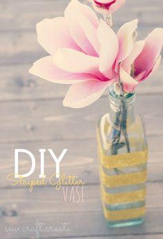 DIY Striped Glitter Vase
