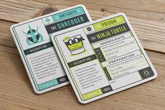 These coasters are a fun a creative idea for any bar! I like the grid layout and how the coasters look like actual gaming cards. Really unique idea that patrons would definitely enjoy