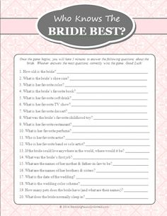 FREE Printable Who Knows The Bride Best Game (Bride) from Wedding Favors Unlimited - Great for Bridal Showers!