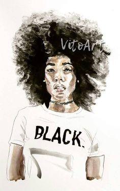African American Woman Black Woman Afro BLACK Art Print