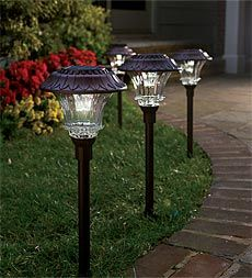 $99.95  solar-path-lights  Die cast aluminum construction • Finely detailed workmanship • 6 super bright white LEDs per head • 1 x 400 mAh Lithium phosphate battery included • Tier ripple glass lens • Cast aluminum stake designed to hammer into hard soil • Monocrystal solar panel with conversion rate equal to or greater than 18% vs. amorphous solar panel (9%) • Lighting time up to 10 hours when fully charged 6 x 23