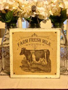 Burlap Cow Sign, Farm Fresh Milk, Wood Sign, Farmhouse Decor, Primitive Sign, by DaisyPatchPrimitives on Etsy https://www.etsy.com/listing/228959057/burlap-cow-sign-farm-fresh-milk-wood