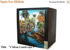 Reduce Price Cigar Box w Artwork Mi Tierra on top Cu ban Art by Daysi Vintage Cigar Box, Wooden Cigar Boxes, Cigar Box Crafts, Cuban Art, Selling Art, Landscape Paintings, Oil Paintings, Cigars, Valentine Gifts