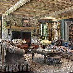 Rustic Fireplace Mantle - loving those brackets