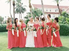 Classic Coral Bridesmaids' Dresses in Sarasota, FL | NK Productions