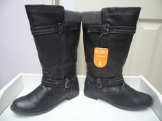 Womens Ladies Black Low Block Heel Zip Buckle Mid Calf Boots Size UK 4,5 New  Useful Info:  - Standard Size - Standard Fit - By Sporto - Black In Colour - Heel Height: 1 Inch  - Quarter Length Inner Side Zip Fastening - Strap And Buckle With Partial Knit Cuff - Thermolite Fleece Lining #boots #black #blackboots #midcalfboots #calfboots #lowheel #buckle #zip #blockheel #fashion #footwear #forsale #womens #ladies #ebay #ebayseller #ebayshop #ebaystore