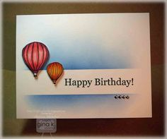 I love the CAS look of this card. The sentiment, with the sponging either side of it looks so good. You could use whatever balloon stamps you have & colour them with you recipients favourite colours. This would make a great thank you card (thanks for the lift...) or thinking of you card too.