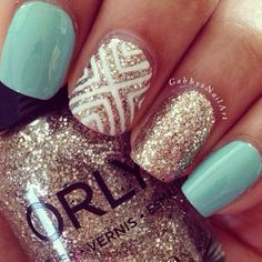 Cute blue pattern sparkly gold nails