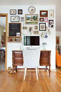 Gallery wall above the desk - like my 4 framed birds