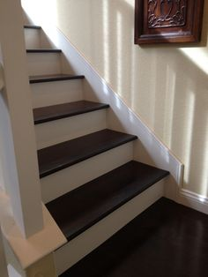 luxury vinyl plank on stairs with white risers luxury vinyl plank vinyl tile pinterest. Black Bedroom Furniture Sets. Home Design Ideas