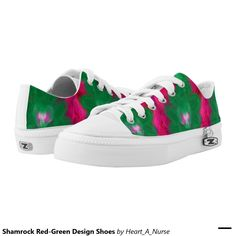 Shamrock Red-Green Design Shoes Printed Shoes