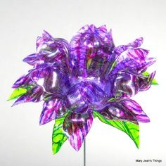 plastic water bottle crafts | Upcycled Purple and Pink Fantasy Flower Made from Water Bottles