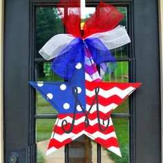 Fourth of July Door Hanger, 4th of July Wreath, Patriotic Wreath, Patriotic Star Door Decoration by LooLeighsCharm on Etsy www.etsy.com/…