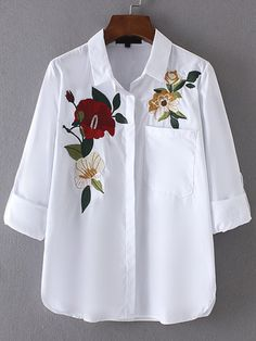 Roll-Up Sleeve Embroidery Blouse With Chest Pocket