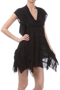 6270cd03ef Boho Goth Black Asymmetrical Dress! Beautiful dress with a cowl neckline