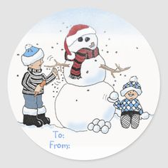 Shop Christmas kids gift label: To:, From: Classic Round Sticker created by graphicdoodles.
