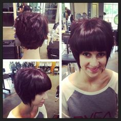 Square graduation with internal layers and straight across fringe. Red/Violet color