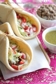 The Best 5 Ingredient Salsa Verde Beef Tacos by Picky Palate #tacos #dinner