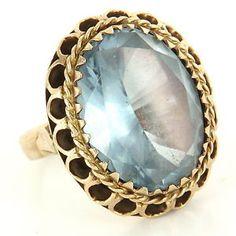 Vintage 14 Karat Yellow Gold Blue Topaz Cocktail Ring Fine Estate Jewelry Used $595
