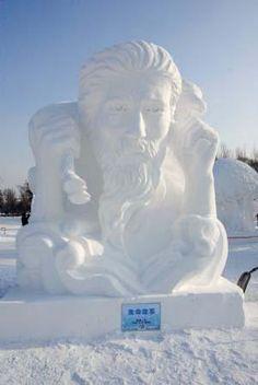 snow sculpture - good shepherd