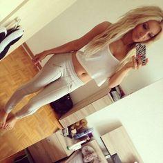 White outfit fashion: pants