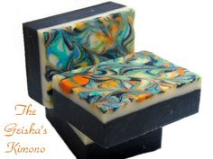 I love this soap, I had a vision of a kimono and tried to replicate the colors in soap.