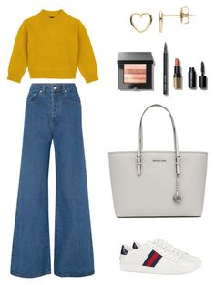 """Outfit"" by lilyhastings98 on Polyvore featuring moda, Solace, Comme Moi, Gucci, MICHAEL Michael Kors, Estella Bartlett ve Bobbi Brown Cosmetics"