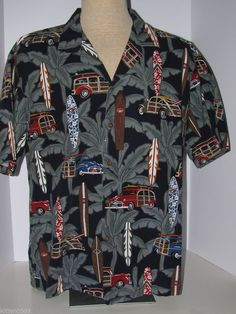 52b30ed1 Aloha Republic Hawaiian Mens Shirt XXL Surf Board Woody Palms Beach  #AlohaRepublic #Hawaiian Surf