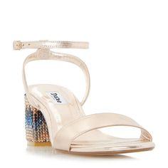 DUNE LADIES MARBLE - Embellished Chevron Block Heel Sandal - rose gold   Dune Shoes Online