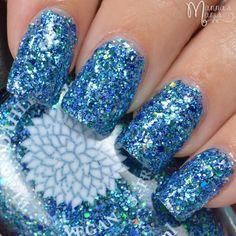 Aqua Glitter Full Coverage Nail Polish by Black Dahlia Lacquer Blue... ($8.10) ❤ liked on Polyvore featuring beauty products, nail care, nail polish, nails, makeup, nail looks and shiny nail polish