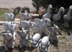 African statues in Minnesota - yep!  #Concrete #Elephants #hippo #Minnesota #Owatonna #Medford #Giraffe