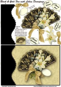 Black & Gold Fan with Lilies Decoupage