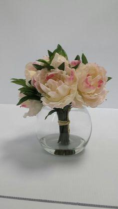 Silk Faux Floral Arrangement with White Peonies - Beautiful Centrepiece White Peonies, Floral Arrangements, Glass Vase, Centerpieces, Silk, Flowers, Beautiful, Home Decor, Center Pieces