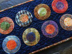 Mini Modern Batik Circle Table Runner Table Topper by LyndiArt, $30.00
