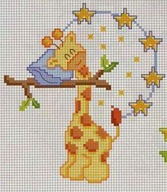 EMBROIDERY – CROSS-STITCH / BORDERIE / BORDUURWERK - GIRAFFE / GIRAFE / GIRAF - Girafa