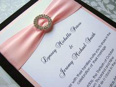 Elegant Wedding Invitation, Classic Wedding, Luxurious, Glitz, Bling - Pure Elegance with Rhinestone Slider. $7.00, via Etsy.