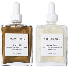 French Girl Organics Lumiere Body Oil Duo (£61) ❤ liked on Polyvore featuring beauty products, bath & body products, body moisturizers, beauty, fillers and makeup