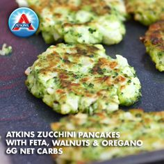 Zucchini pancakes with feta, walnuts and oregano--yum! Acceptable in Phases 2-4.