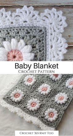 Crochet Blanket Edging, Baby Girl Crochet Blanket, Crochet Baby Blanket Free Pattern, Crocheted Baby Afghans, Crochet Quilt, Granny Square Crochet Pattern, Crochet Yarn, Crochet Edges For Blankets, Crochet Afghan Patterns