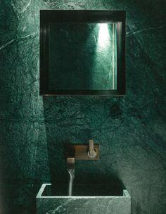 Green marble tile bathroom Large tile size green and . Green Marble Bathroom, Large Tile Bathroom, Bathroom Taps, Copper Faucet, Dark Living Rooms, Dark Bathrooms, Bathroom Inspiration, Inspiration Design