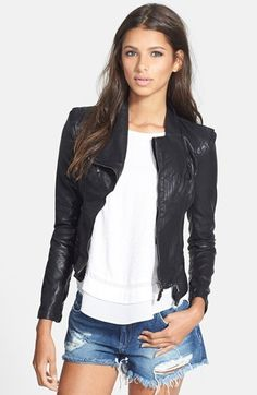 05d456e6a27bf BLANKNYC Faux Leather Jacket Adjust your attitude with a tailored  biker-babe jacket constructed with detailed seaming. Allover zip accents  bring the urban ...